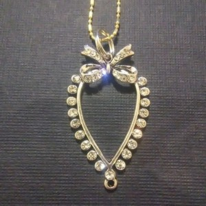 Bow Rhinestone Charm Necklace