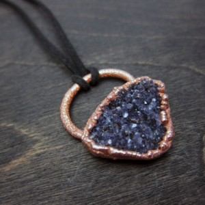 Unisex Large Raw Druzy Amethyst Rock Statement Necklace - Rough Gemstone set in Recycled Copper Pendant Necklace -  One of a Kind Amulet