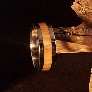 Size 9 1/2 Olive wood ring, Stainless steel core with stainless steel edges, 7mm band width