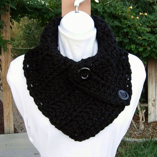 Solid Black NECK WARMER SCARF Buttoned Cowl, Soft Wool Blend, Black Buttons, Thick Bulky Chunky Winter Crochet Knit Ready to Ship in 2 Days