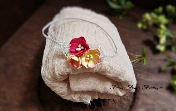 Luxury Newborn Cluster Headband&Hand-Dyed Premium Cheesecloth Wrap Set, Cafe Latte Tan Beige Photo Prop Set, Baby Showers Gift [Grade 50]