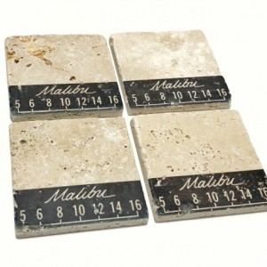 Malibu Vintage Dial Natural Stone Coasters, Set of 4 with Full Cork Bottom