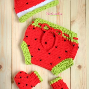 Watermelon Diaper Cover, Beanies, & Booties