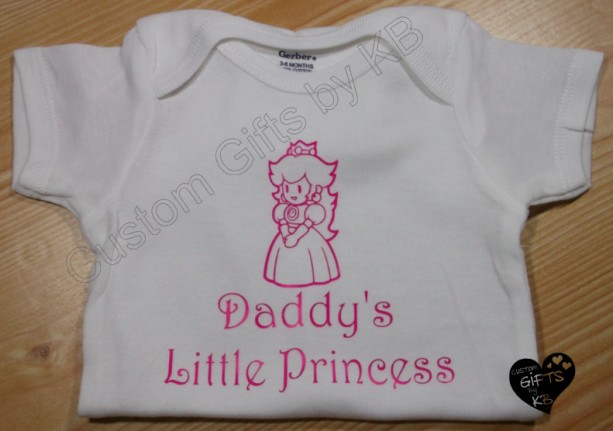 Mario Princess Daddys Little Princess Onesie, 1UP custom onesie, Baby Shower Gift, Gamer gift, Mario, Princess Peach Onesie, Christmas Gift
