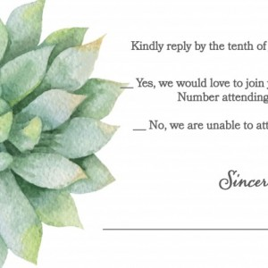 Custom Wedding - Invitations - Succulents - Set of 25 - Nature Inspired