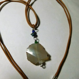 Natural Leather necklace with Grey Agate stone pendant and lapis lazuli, Moon Stone, and Emerald stone beads. #N0099