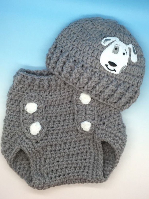 Crocheted baby boy diaper cover and hat set