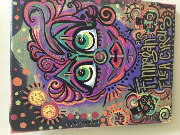 "Finnegans Flea Circus, 8 x 10"" canvas, acrylic and oil paints"