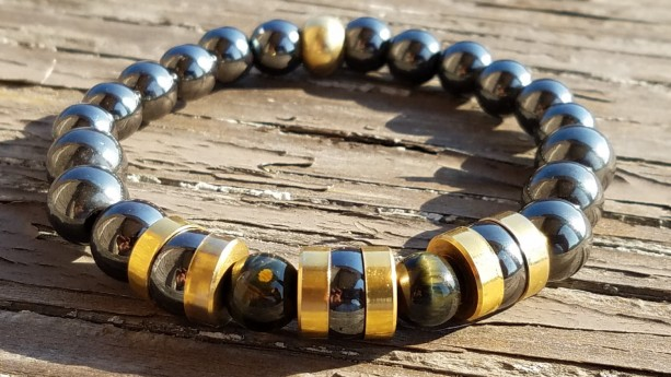 Men's Bracelet - Hematite, Brass, and Blue Tiger's Eye