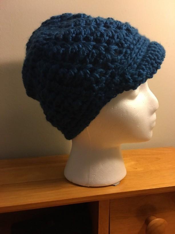 women's/teens blue newsboy beanie hat