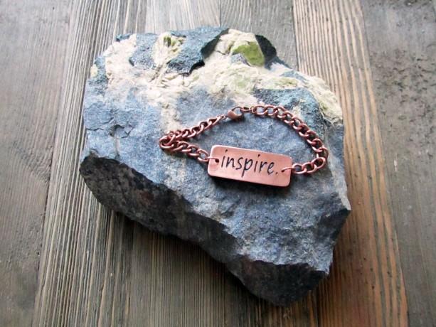 Copper 'Inspire' Metal Clay Bracelet