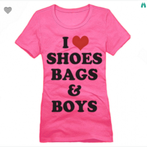 I Love Shoes Bags And Boys XS To XL District Brand Crew T-shirt For Women In Dark Fuchsia With Black & Red Ink