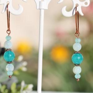 Crackle Agate Light Aqua, Quartz Aqua Blue Gemstones Earrings