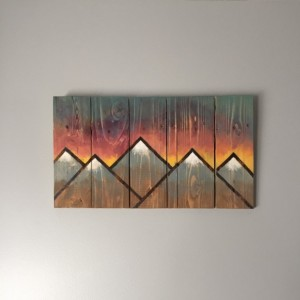 Handmade Mountain Sunset Scene on Repurposed Pallet Wood