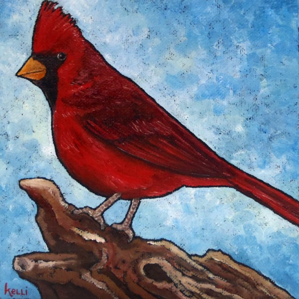 """Northern Cardinal 6"" original painting"