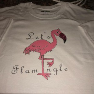 Let's Flamingle T-shirt hand designed size xl