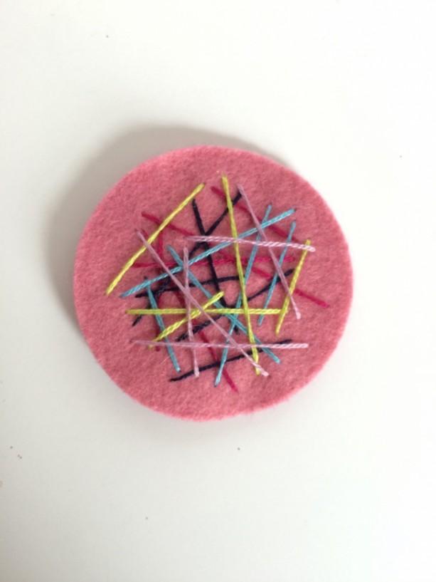 Pink Hair Clip, Felt Clip, Little Girls Hair Clip, No Slip Clip, Hair Accessories for Girls, Toddler Hair Clip, Hand Embroidered Hair Clip