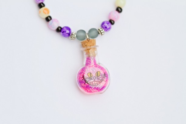 Alice in Wonderland Cheshire Cat sand in bottle necklace/Black network,coin beads,glass seed,tibetan silver spacers, jasper/Under 20 dollars