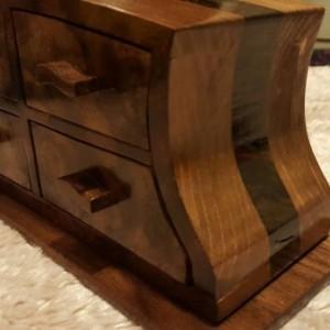 Jewelry box featuring walnut burl, walnut, and pine with 4 drawers