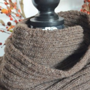 Vermont Wool Mohair Hand knit long wrap scarf