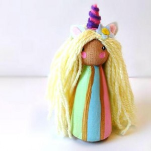 Unicorn Princess dolls - Unicorn gift - Unicorn part favors - Girls toys - Peg dolls - Peg people - Unicorn doll - Stocking stuffer - Girl