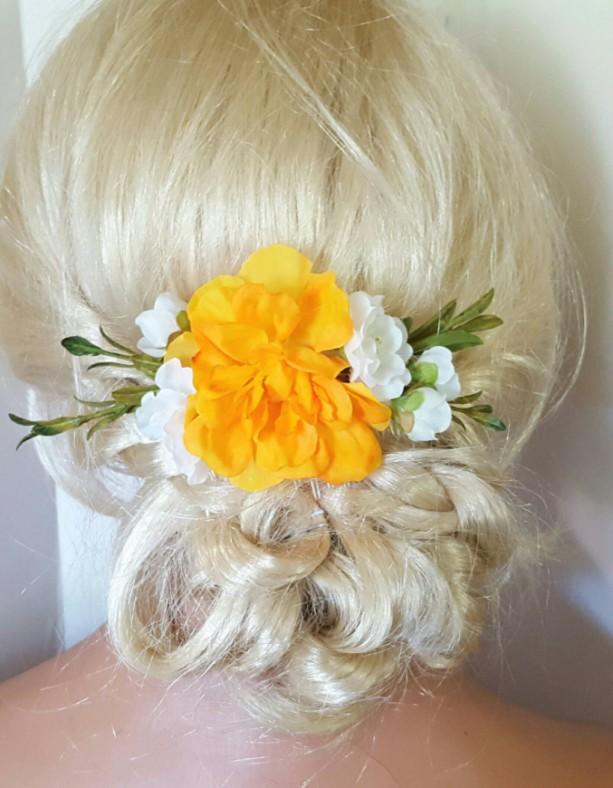 Boho Bridal Fascinator, Rustic Clip, Wedding Hair Comb, Wedding Clip, Wedding Hair Clip, Bridal Hair Comb, floral hair clip,  yellow