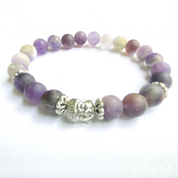 Amethyst & Silver Buddha Bracelet