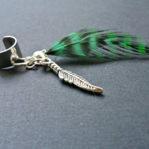 Boho Dark Green Grizzly Feather Ear Cuff - Feather Earcuff - Earcuffs -  Earrings