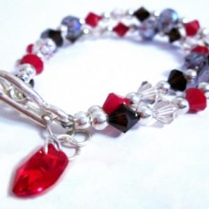 Coral Crystal Heart Charm Bracelet, Gift for Girlfriend, Dainty Bracelet, Double Strand Bracelet, Beaded Bracelet, Gift for Mom, On Sale