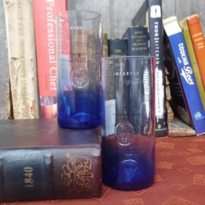 Upcycled Ciroc Vodka Bottle Collins Glasses, Set of 2, Blue