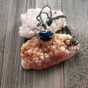 Simple Bronze Metal Clay and Bloodstone Pendant