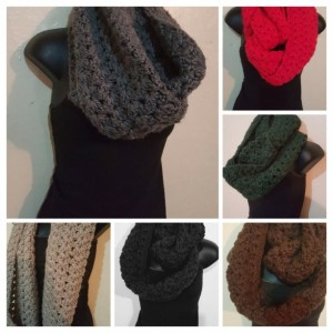 Thick Chunky Infinity Cowl Handmade Crochet Scarf 6 Colors - Black, Brown, Gray, Tan, Hunter Green, Red