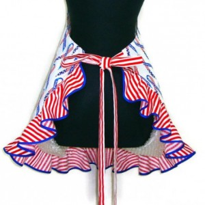 Kitchen Apron for women , American Flag Ribbons , Red White and Blue , Retro Decor