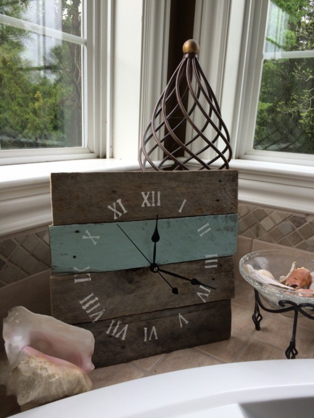 Reclaimed Aged Pallet Wood Wall Clock , Hand Painted Upcycled Tropical Sea Sprite Blue (Ready to Ship)