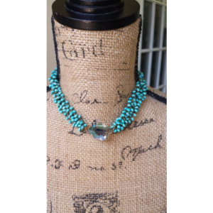 Turquoise Wooden Beads Necklace -Crystal Boho Bohemian