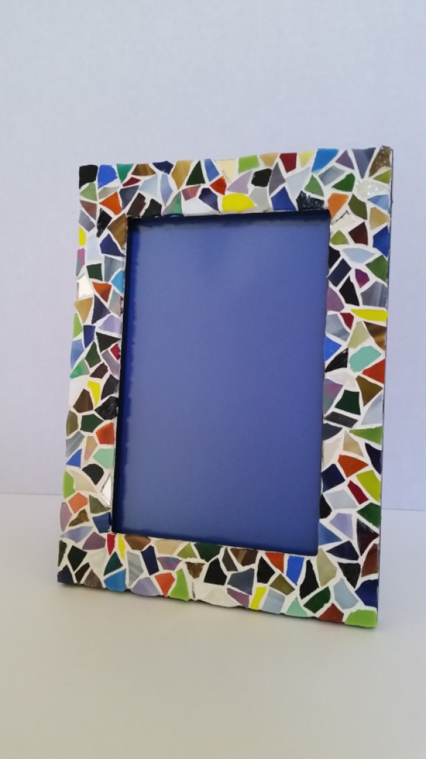 Picture Frame with Stained Glass Mosaic Border