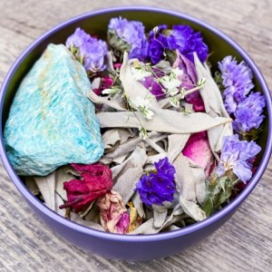 Spirit Flame Herb and Resin Healing Blend w/ Amazonite Crystal, Violet Flame, High Frequency, Charged, Higher Awakening, Energize,