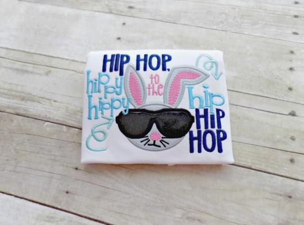 Boys Easter Shirt, Boys Bunny Shirt, Infants Easter Shirt,  Hip Hop, Hippty Hop, Easter Bunny with Sunglasses, Embroidered, Appliqued,