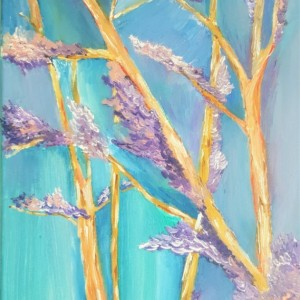 Oil Painting on Canvas- Small Art- Blue Purple Trees Landscape-Botanical- Sarah Floyd