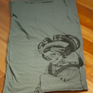 Asphalt Grey, Japanese, Skeleton, Oiran, T-Shirt Dress, Screen Printed, Women - Gifts for Her - Limited Stock, Eco-Friendly, Hand Printed