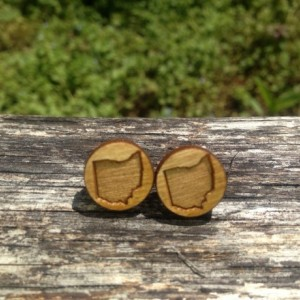 Wooden Ohio Outline State Small Stud Earrings - FREE US SHIPPING