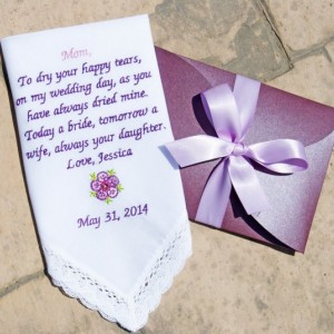 Embroidered Wedding Handkerchief for the Mother of the Bride! FREE GIFT CASES with every purchase!!
