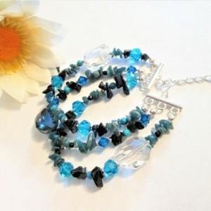 Blue Beaded Bracelet with Multiple Gemstones, Multi Gemstone Beads,  Boho Jewelry, Triple Row Bracelet, Jewelry for Sale, Gift for Her