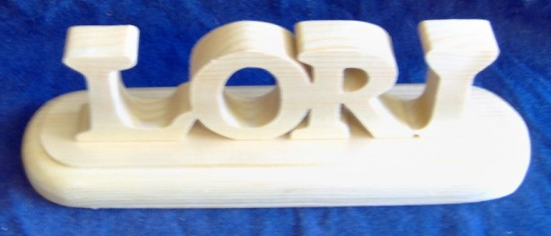 Hand Crafted Wooden Name on a Base Made From Pine. Free Shipping!