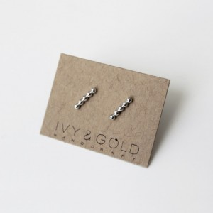 Sterling Silver Beaded Bar Earrings