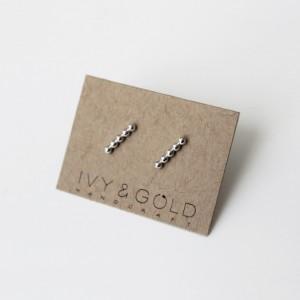 Sterling Silver Beaded Bar Earrings