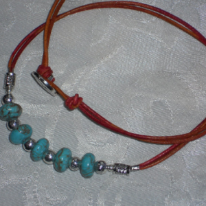 December Turquoise birth stone rodelles leather necklace