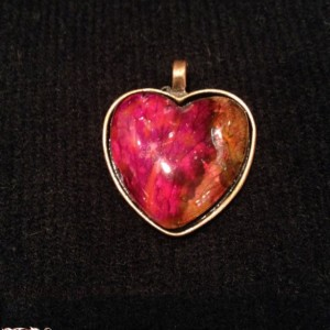 """""""Petals"""" Real Hand-Dyed Rose Petal Heart Pendant with Swarovski Crystal Option"""