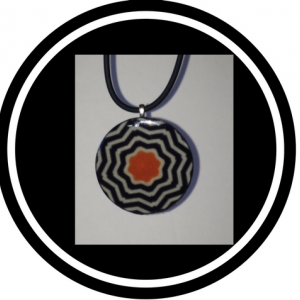 Orange Necklace - Handcrafted St. Croix black and white stripes with orange flower pendant bead necklace