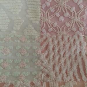 Vintage Chenille Pink Giraffe Baby Quilt